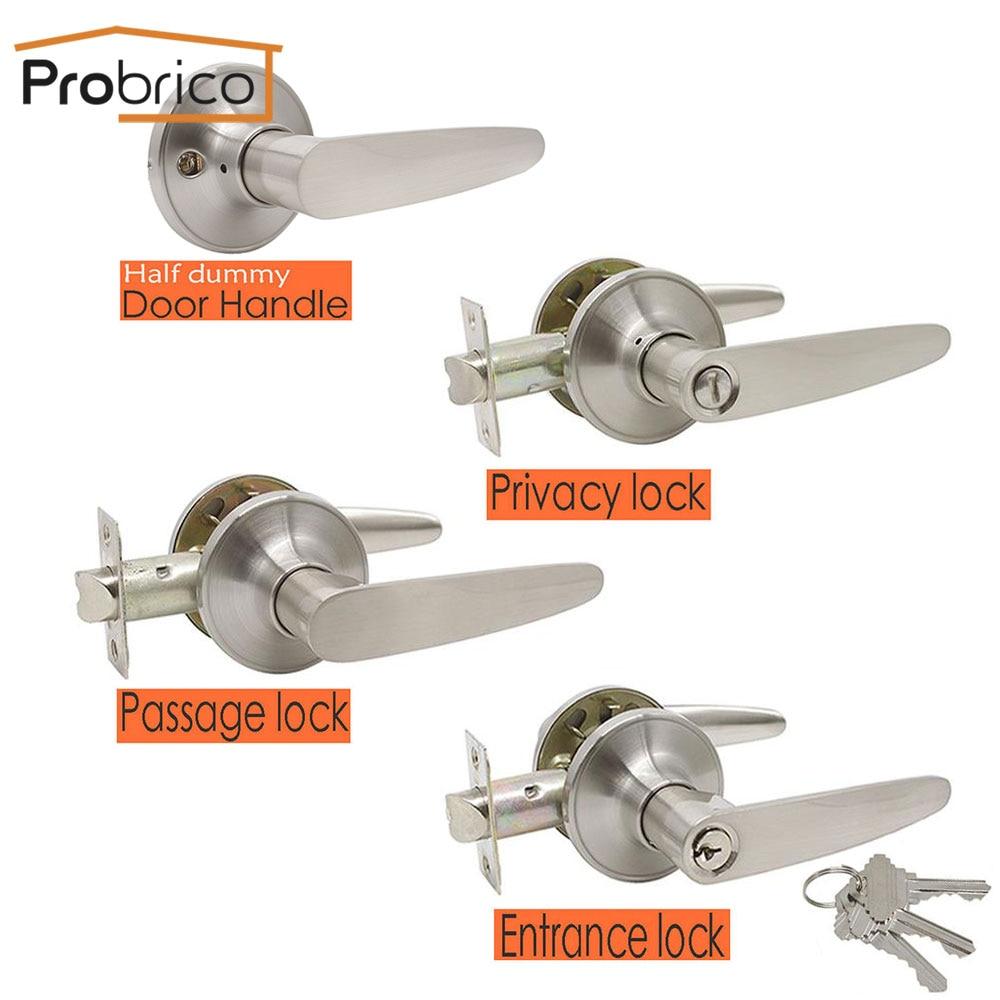 Probrico Door Handle For Interior Doors Mute Front Back Wooden Door Levers Lock Cylinder/latch Interior Door Knobs Lock Hardware