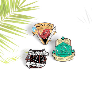 Dungeons and Dragons pin DND Dice Enamel Pins Swordsman Mage Board Game Brooches Shirt bag Lapel pins badges Jewelry gift