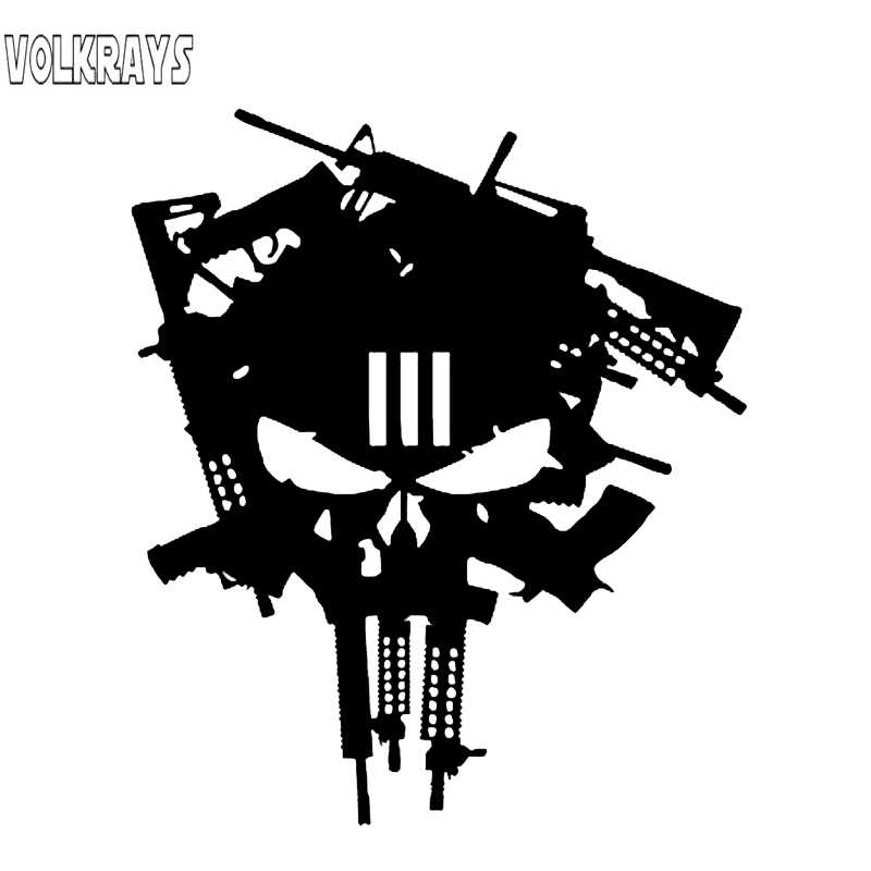 Volkrays, pegatina creativa para coche, pistola Punisher, accesorios de cráneo, reflectante, impermeable, calcomanía de vinilo de alta calidad, 16cm * 13cm