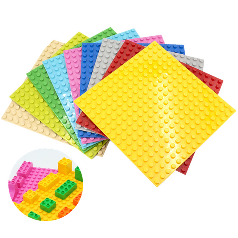 16*16 Dots Big Blocks Base Plates DIY Bricks Large Particle Building Blocks Toys Fit Hollow Duploe Baseplates For Children Gift