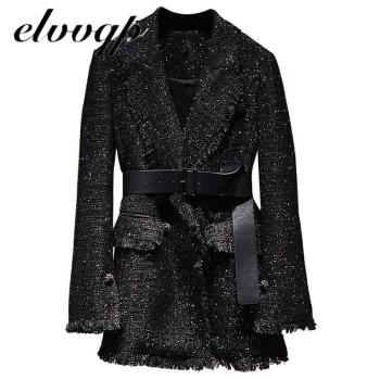 Autumn Vintage Sequin Women Blazer Coats Casual Elegant Sashes Office Work  Jacket Fashion Spring Long Sleeve Ladies Blazers