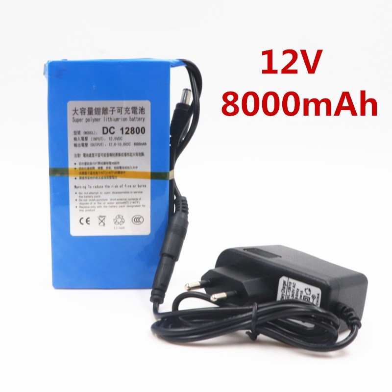 DC12800 <font><b>DC</b></font> 12V 8000MAH Li-ion Super Powerful Rechargeable Battery For Camera With Plug image