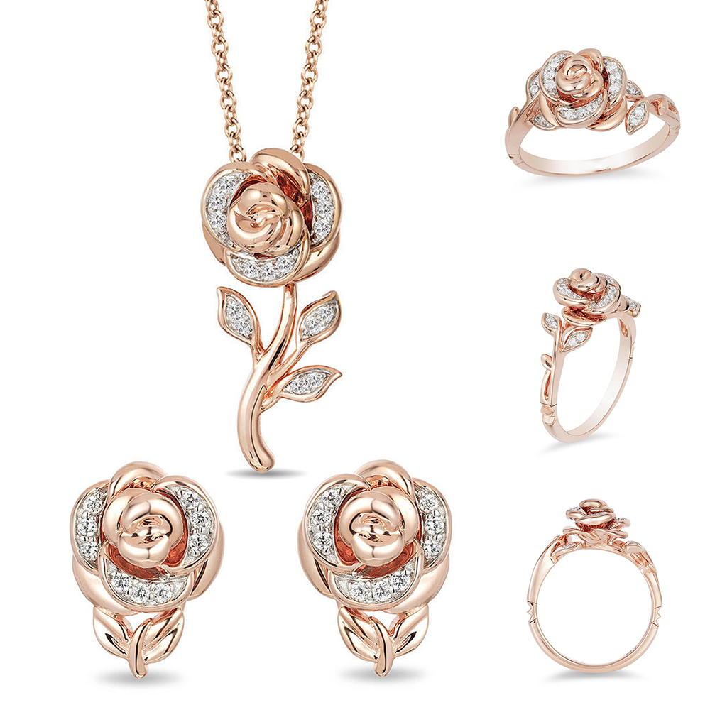 Flower Jewelry Sets Necklace Rose Gold Earrings Ring Jewellery Sets For Women Pendant Gold Jewelry Set
