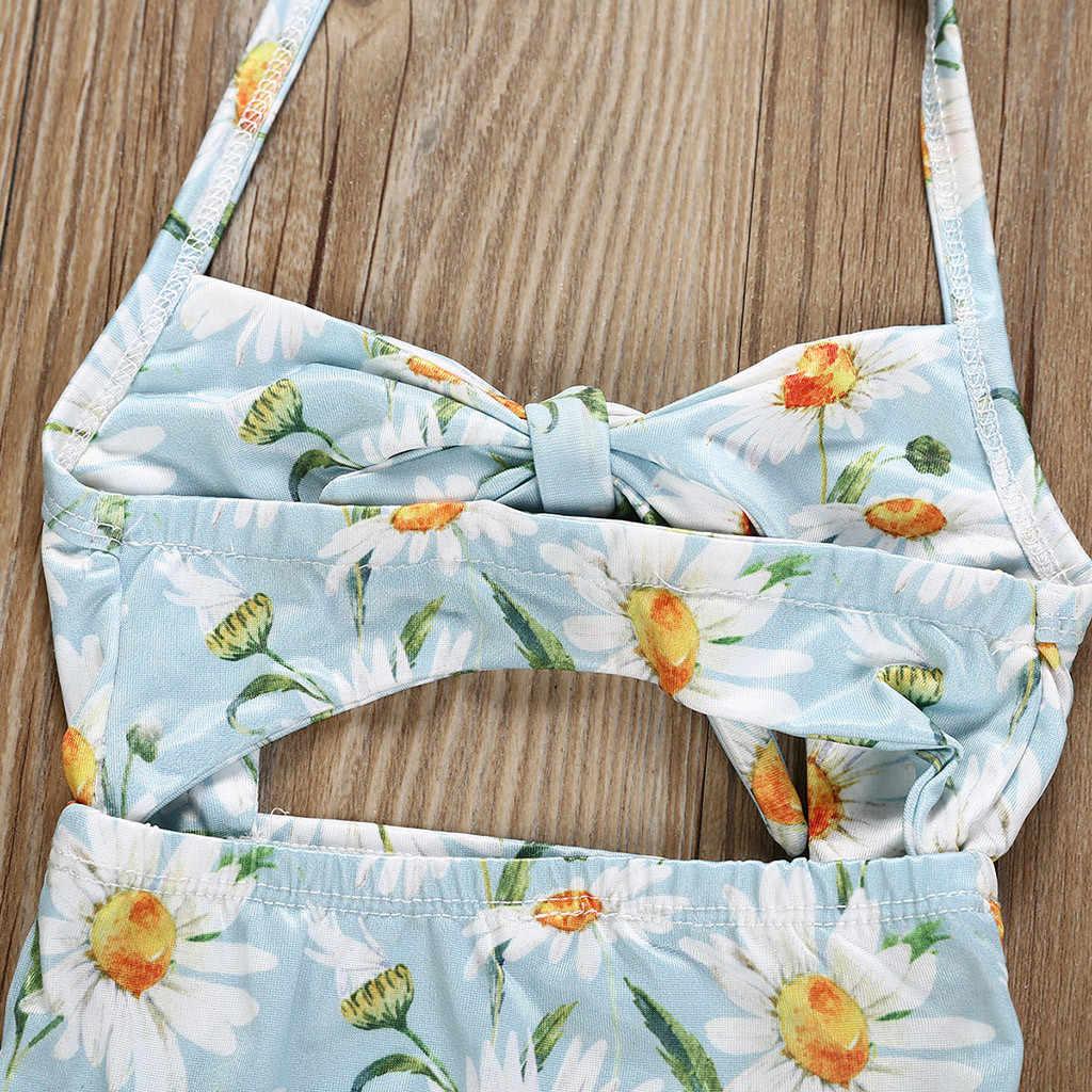 TELOTUNY dzieci dziewczynek Floral Print kamizelka letnie stroje kąpielowe strój kąpielowy Romper kombinezony moda strój kąpielowy stroje kąpielowe dla dziewczyn 1-5Y