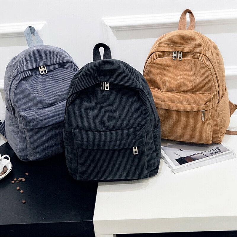 Women Girls Backpacks Mini Corduroy Backpack Rucksack School Travel Shoudler Zipper Bag