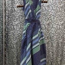Top Quality Cotton Dress 2020 Summer Style Women V-Neck Striped Print Bow Belt D