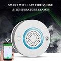 Wifi Интеллектуальный тепловой датчик дыма Сигнализация для домашнего пожарного теплового датчика детектор