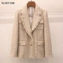 Autumn Winter Vintage Plaid Tweed Slim Suit Jacket Women Korean Pearls Button Ou
