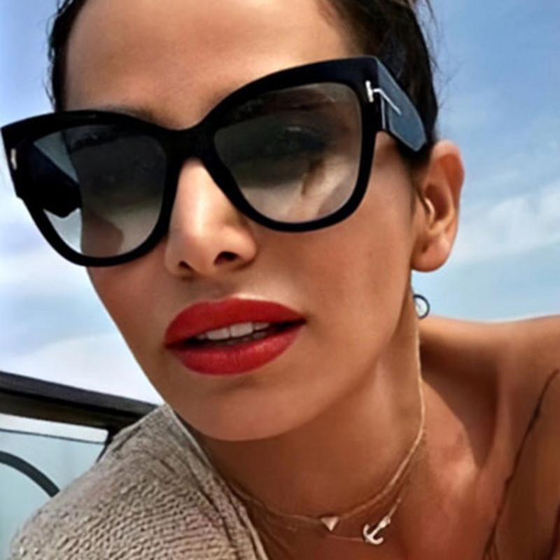 New Fashion Brand Designer Cat Eye Women Sunglasses Female Gradient Points Sun Glasses Big Oculos feminino de sol UV400