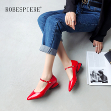 ROBESPIERE Women Wedding Pumps Autumn New Rivet Buckle Strap Large Size Shoes Sexy Red Pointed Genuine Leather Womens A41