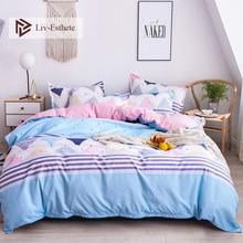 Liv-Esthete Fashion Stripe Color Bedding Set Comforter Duvet Cover Bedspread Flat Sheet Double Queen King Bed Linen Home Textile