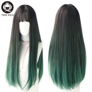 Image 2 - 7JHH WIGS Noble Light Brown Black Wigs For Women Long Remy Hair With Bangs For Girl Omber Brown Green Purple Wigs Wholesale