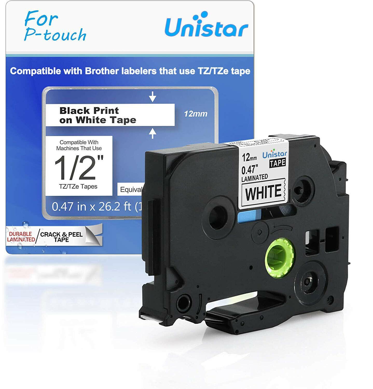 Unistar tze 231 tz231 TZe-231 Compatible avec Brother p-touch étiquette bande 12mm multicolore pour PT-H110 PT-D600 PT-1000 étiqueteuse