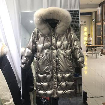 2020 Real Fox Fur collar Down Parka coat Female Winter Warm Thicken Coat Woman Korean Puffer Glossy long Hooded Outwear snow