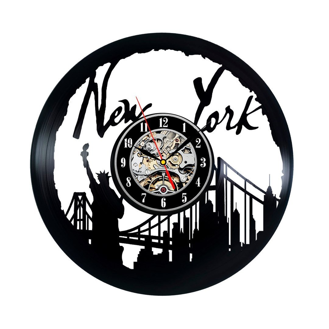 New York City Wall Clock Vinyl CD Record Clocks Unique Handmade Modern Style Watch Home Decoration Silent 12 Inch