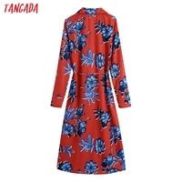 Tangada 2021 Autumn Fashion Women Red Flowers Print Elegant Midi Dress Long Sleeve Office Ladies Dress BE375 6