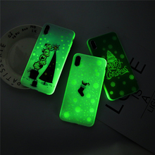 Ottwn Cartoon Christmas Phone Cases For iPhone 6 6S 7 8 Plus X XS Max XR Luminous Tree Back Case Cover Shells