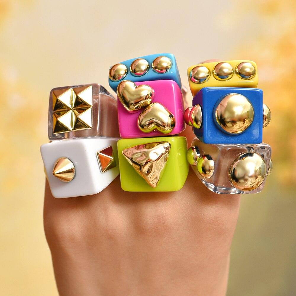 3pcs New Fashion Multicolor Resin Acrylic Geometric Square Ring Set for Women Punk Gold Bead Rivet Metal Big Thick Rings Jewelry