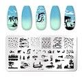 Трафареты для стемпинга ногтей PICT YOU Animal Brird, пластины с геометрическим рисунком цветов, листьев, полосатых линий, инструменты из нержавеюще...
