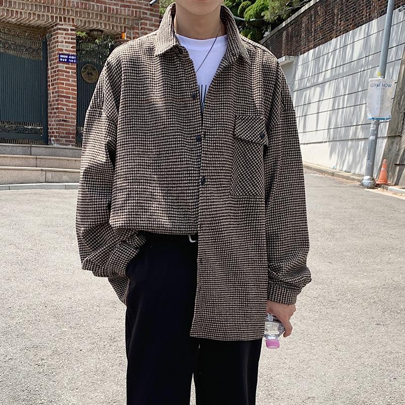 Men's Lattice Printing Loose Shirt Fashion Trend Loose Long Sleeves Coat Camisa Masculina Mens Fashion Shirts Size M-2XL
