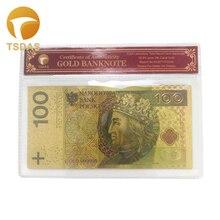 Польские банкноты 100 BNP Позолоченные банкноты сувенир с бесплатной рамкой COA