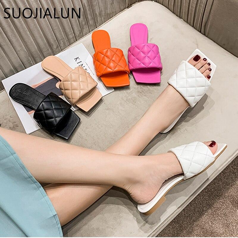 Zapatillas SUOJIALUN 2020 de punta cuadrada, zapatillas de tacón plano con bordado de diamantes para mujer, sandalias de playa de verano al aire libre, sandalias, chanclas
