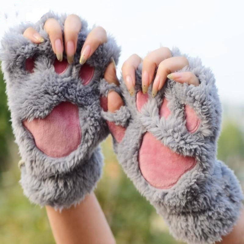 Winter Women Girl Cute Cat Claw Paw Plush Mittens Short Fingerless Half Finger Gloves Holiday Outdoor Activity Keep Warm Wear