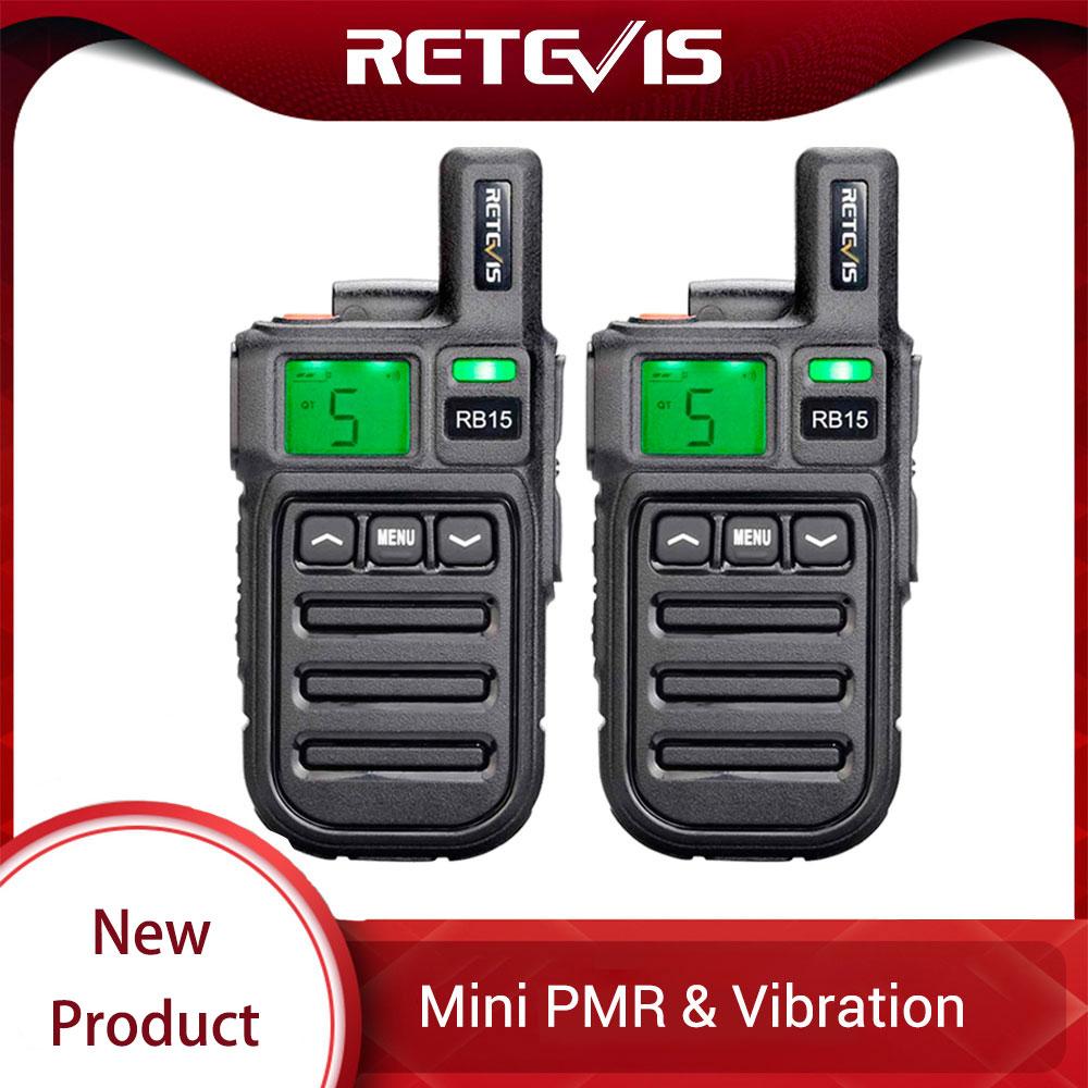 2pcs Retevis RB615/RB15 Mini PMR Walkie Talkie PMR446 PMR 446 Radio VOX Handsfree Two Way Radio With Vibration Wireless Cloning
