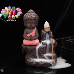 50 шт. пирамидки благовоний + горелка креативный домашний Декор маленький Монах Будда курильница с обратным потоком благовония горелки