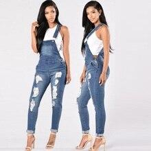 Джинсовый комбинезон женский осенний корейский стиль Тонкий джинсовый Повседневный боди на лямках брюки джинсы с высокой талией Плюс Размер рваные джинсы
