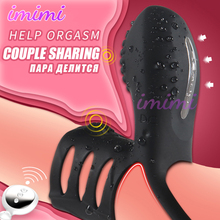 High-End USB Charging Wireless Remote Control Double Cock Ring Silicone Clitoris Vibrator Couples Sex Toy Ejaculation Penis