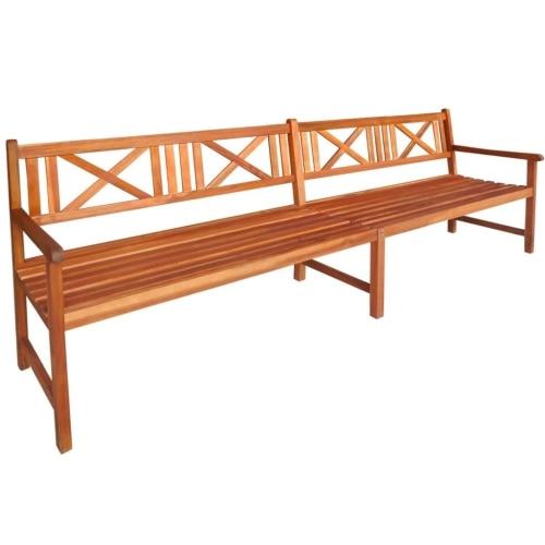 Banco de madera de Acacia maciza, mueble de jardín, 240x56x90 cm, marrón