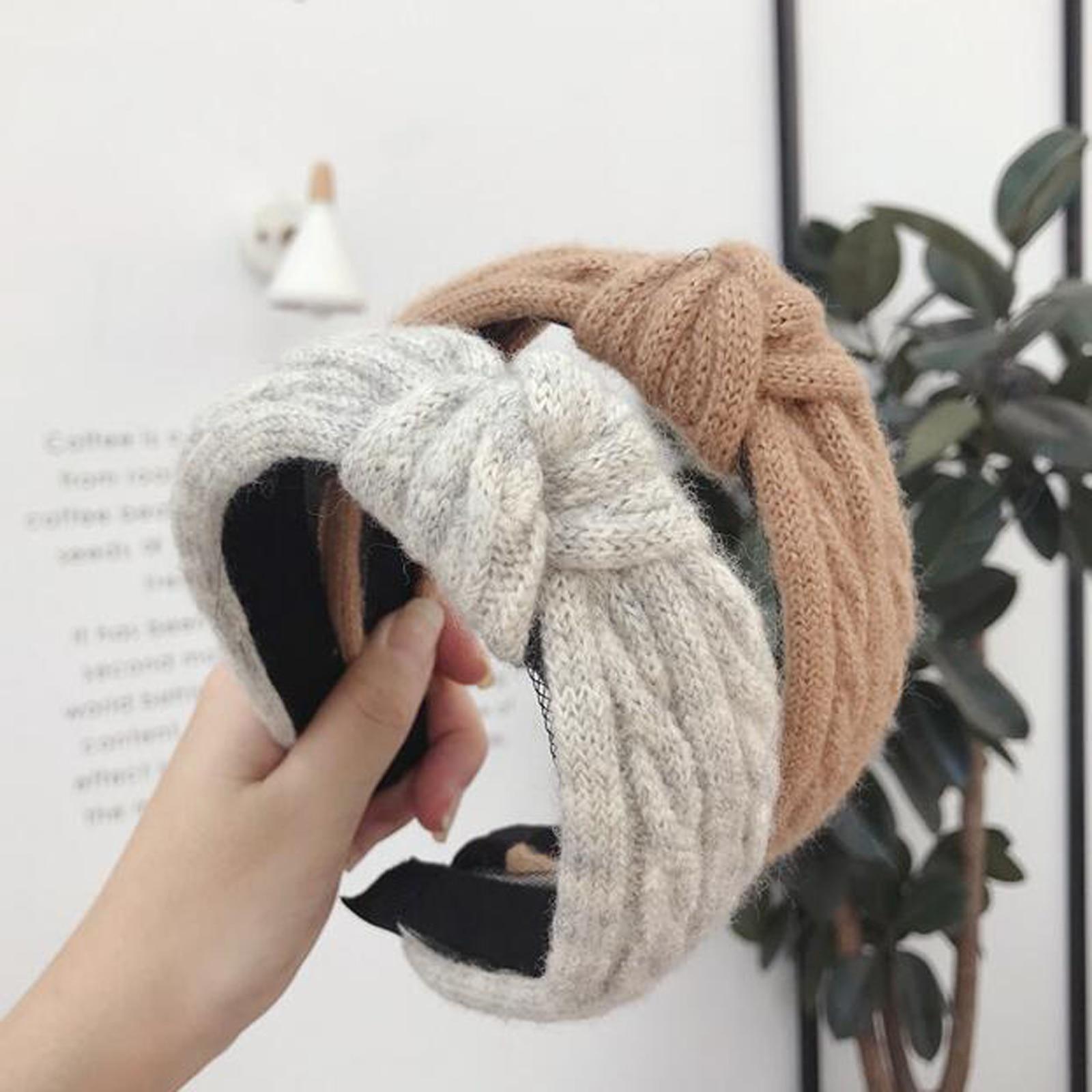 New Winter Kintted Headband Women Warm Handmade Hairband Girls Fashion Solid Turban Center Knot Casual Hair Accessories