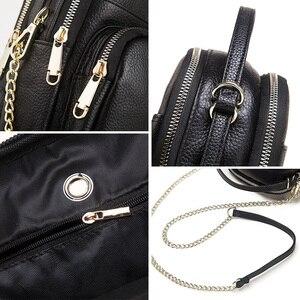 Image 5 - GZCZ 100% véritable cuir de vache sac de messager femmes sac à bandoulière mode bandoulière poitrine sac à main noir pour fourre tout pochette dame