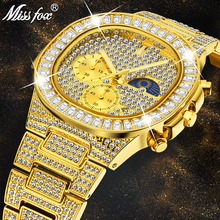 MISSFOX Man luxury Watch Gold Ice Out Full Diamond Square Wristwatches Double Dial Chronogr