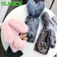 SUYACS Plush Rabbit For Samsung Galaxy Note10 8 9 A50 A70 S10 Plus S10e S7Edge S8 S9 Cute Warm Fur Soft Phone Housing Bag Cover
