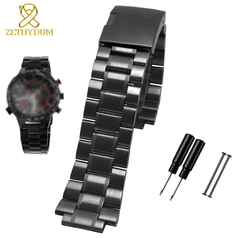 Solid Stainless Steel Watchband For Timex T2N720 T2N721 T2N739 Watch Strap Silver Black Bracelet 24*16mm Watch Band Metal