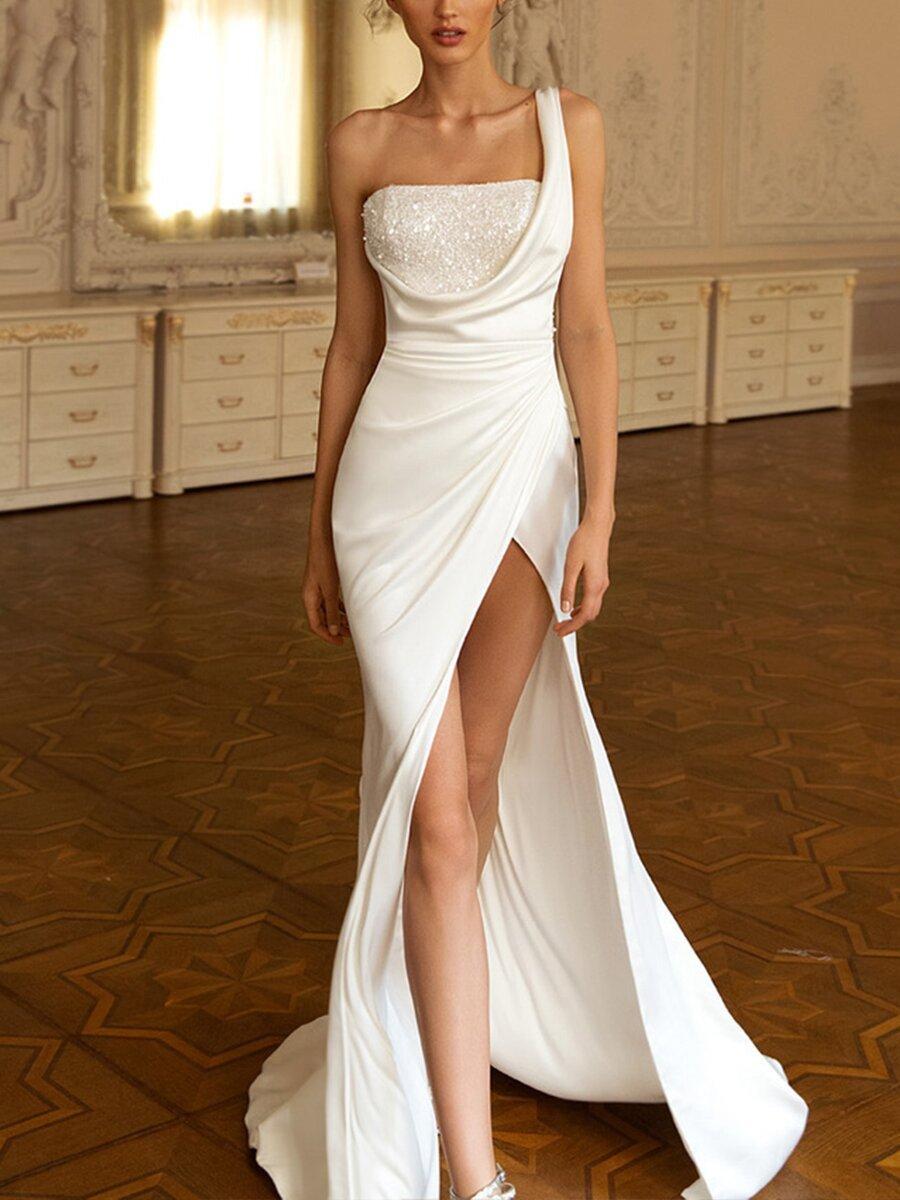Women Elegant Long Dress One Shoulder Sequins High Split Fork Floor Long Dress Big Hem Club Party Night Evening Dress Vestidos