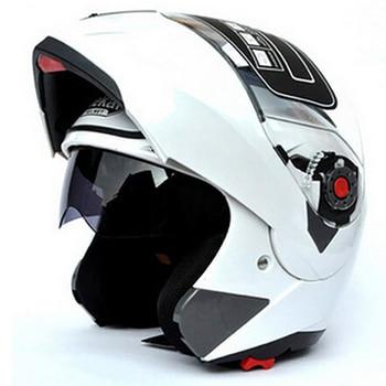 Motorcycle Flip Up Double Visor Helmet DOT ECE Moto Motorbike Helmet With Inner Sun Visor Unisex Helmets Jiekai 105