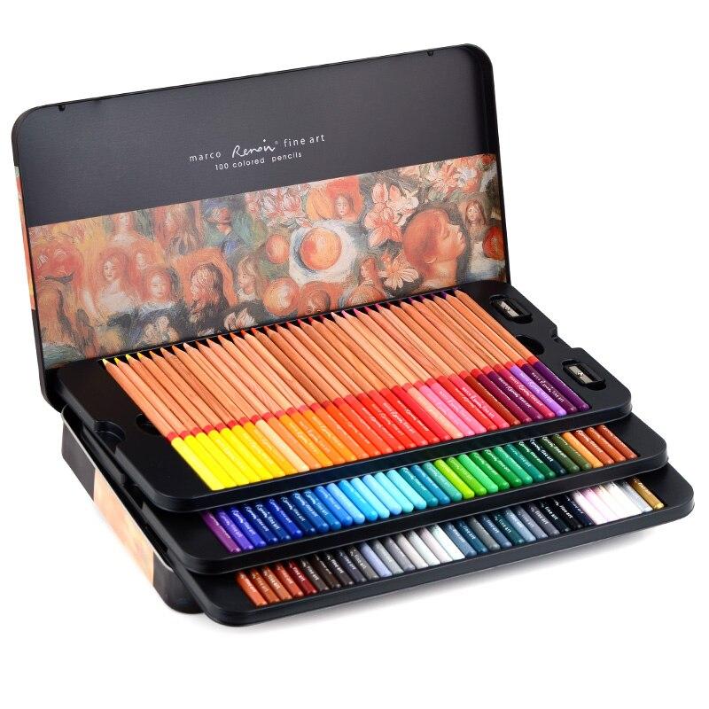 Andstal Marco Renoir 120 цветов s Профессиональный масляный цветной карандаш 12/24/48/72/100/120 Художественный набор для рисования эскиз цветные карандаши