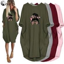 Размера плюс 5xl дамы миди платье свободные леопардовая расцветка