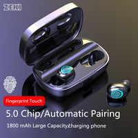 ZEKI 3500mAh Verdadeiro TWS Esportes Fones de ouvido Fone de ouvido sem fio fone de Ouvido Sem Fio Bluetooth 5.0 Fone De Ouvido de Toque Chamada Binaural fones de ouvido