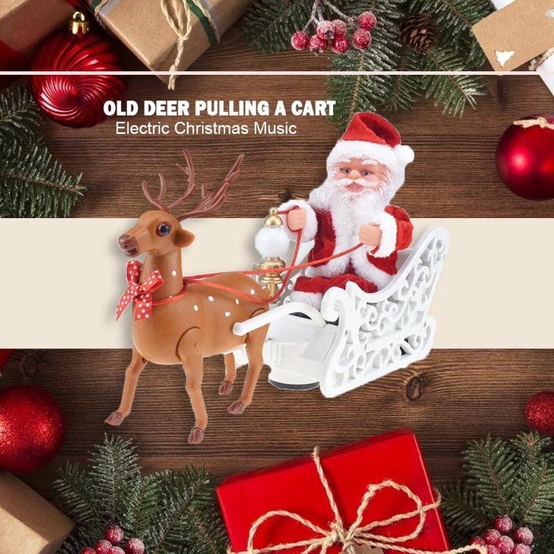 Santa Claus Elk Sleigh Music Toys Christmas Festival Electronic Doll Plastic Table Ornament New Year Party Children Gift