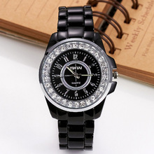 2019 Luxury Women Watches Fashion Black Imitation Ceramic Band Rhinestone Quartz reloj mujer montre femme