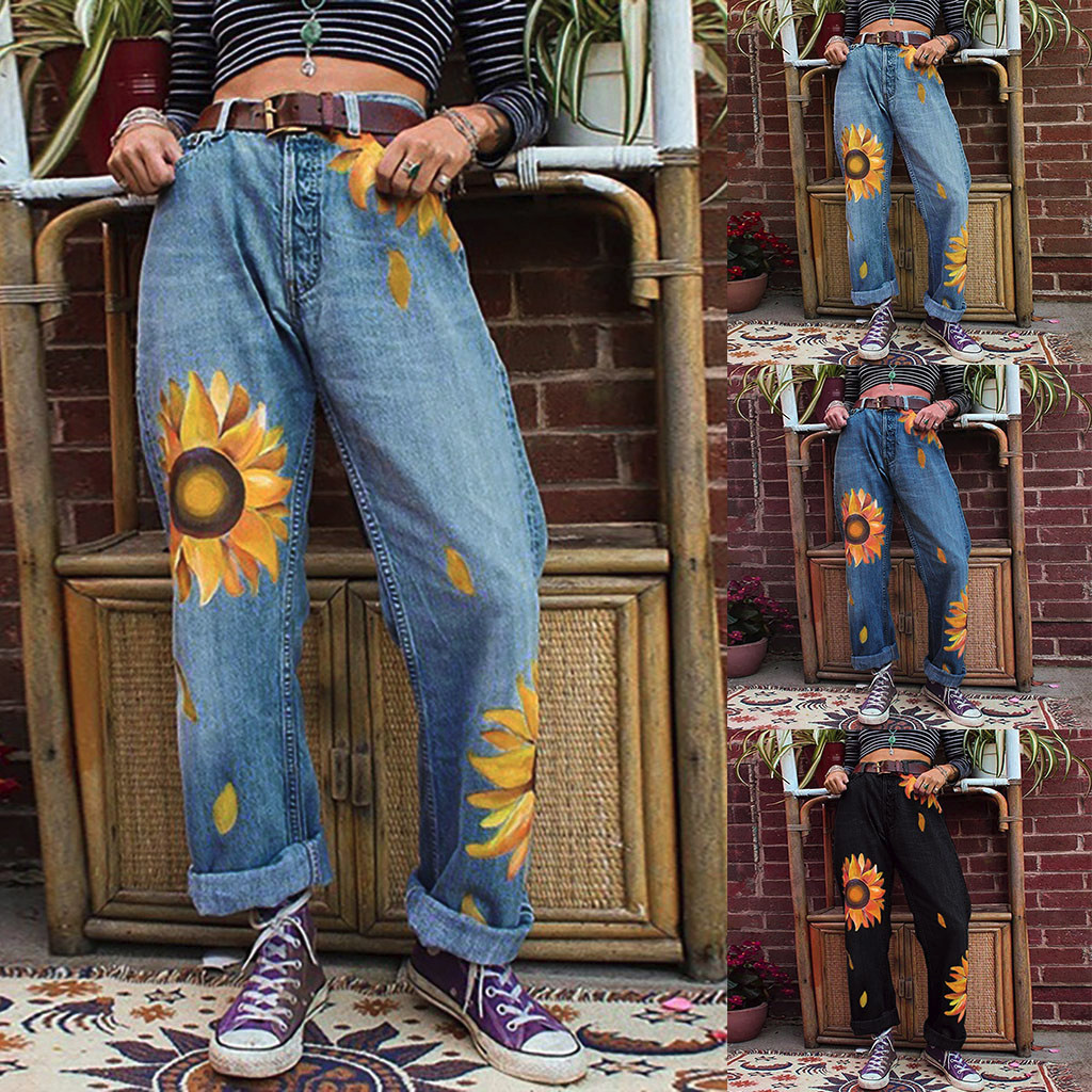 Women Jeans Casual Jogger Pants Slim Jeans Mid Waist Sunflowers Slim Pants Length Jeans Plus Size Bohemian High Waist Pant#G2