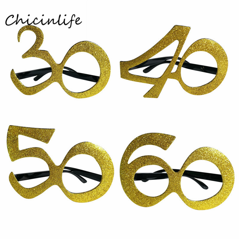Chicinlife Gold 30 40 50 60 <font><b>Birthday</b></font> Glasses Women 30th 40th <font><b>50th</b></font> 60th <font><b>Birthday</b></font> <font><b>Party</b></font> Decoration Cosplay Supplies <font><b>Birthday</b></font> Gift image