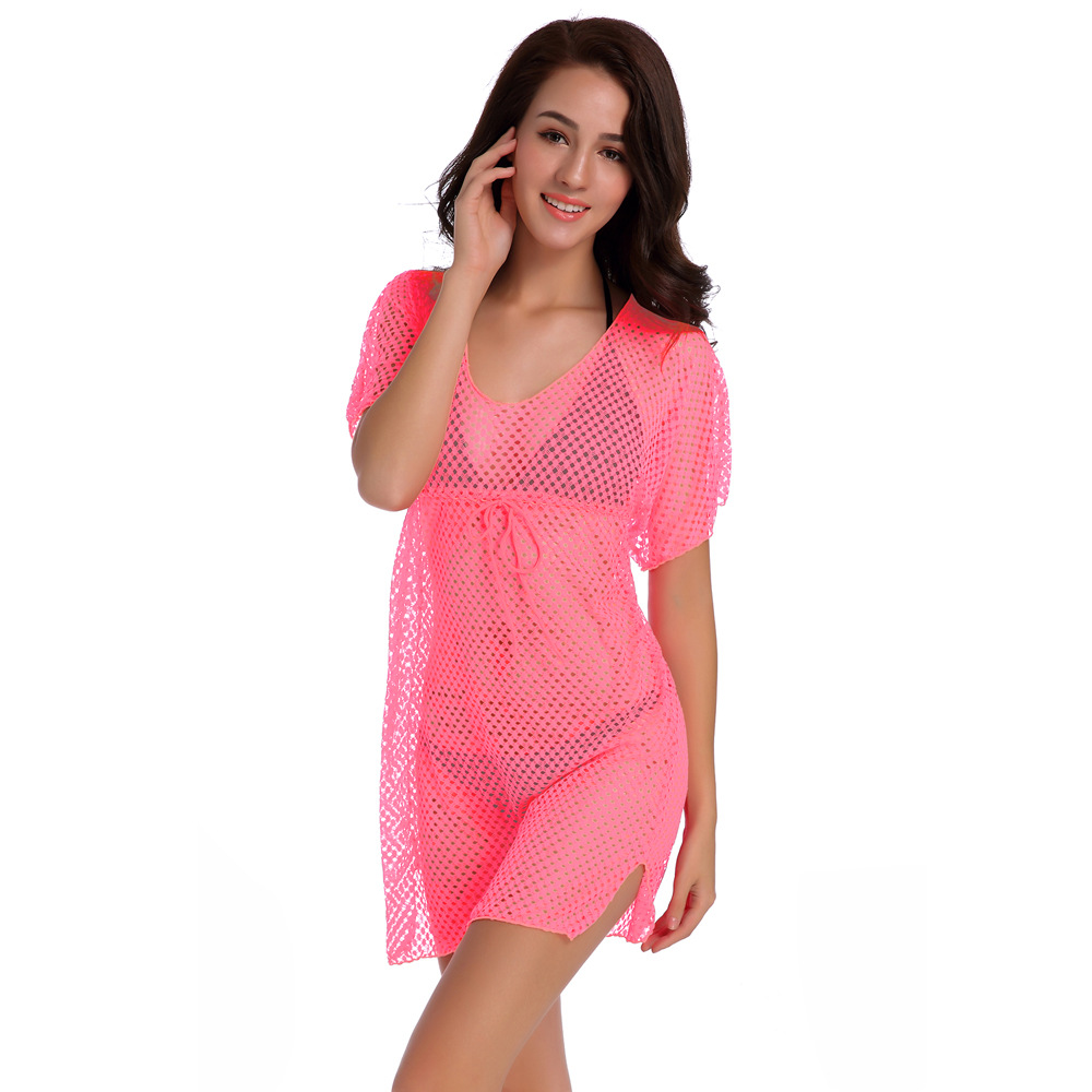 Europe And America Candy-Colored 8-Color Knit Beach Bikini Outer Blouse Hollow Out Mesh Lace Beach Skirt