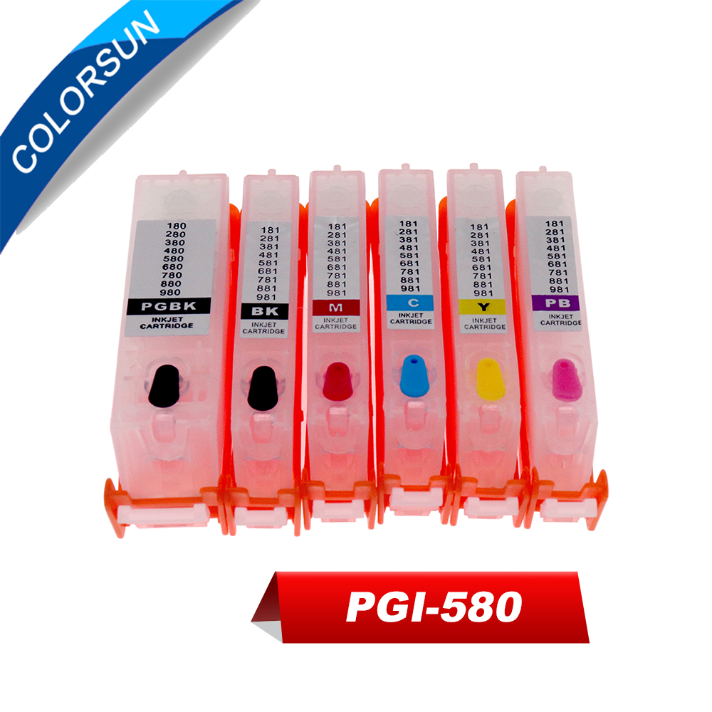 Colorsun 6 color Refillable PGI580 PGI-<font><b>580</b></font> CLI-581 ink cartridge for <font><b>Canon</b></font> PIXMATS8150 TS9150 TS9155 ink cartridge with ARC chip image
