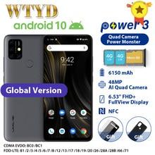 "UMIDIGI כוח 3 Quad מצלמה אנדרואיד 10 4G נייד טלפון 6.53 ""4GB 64GB 6150mAh מהיר תשלום פנים מזהה NFCGlobal גרסה Smartphone"