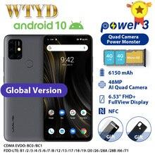 هاتف UMIDIGI Power 3 رباعي الكاميرا يعمل بنظام تشغيل أندرويد 10 هاتف محمول مزود بتقنية الجيل الرابع بشاشة مقاس 6.53 بوصات وذاكرة وصول عشوائي 4 جيجابايت وذاكرة قراءة فقط 64 جيجابايت وبطارية 6150 مللي أمبير في الساعة هاتف ذكي بخاصية الشحن السريع Face ID NFCGlobal الإصدار